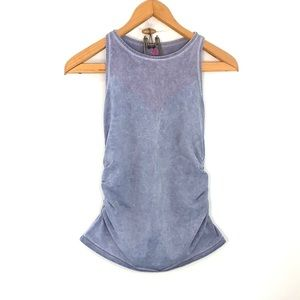 Pink Lotus athletic tank with ruched sides
